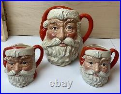 Vintage Royal Doulton Santa Jug & 2 matching mugs Toby Character 1983 England