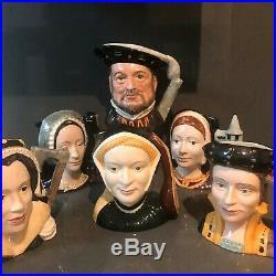 Vintage Royal Doulton Signed Character Large Henry VIII And 5 Wives Toby Jug Mug