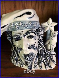 Witch And Wizard Blue Flambe Royal Doulton Character Jugs